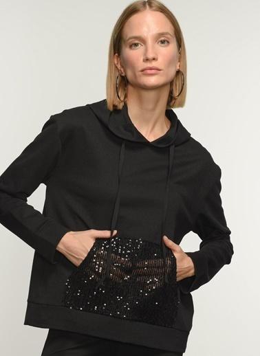 People By Fabrika PFKAW21SW0011 Payet detaylı Sweatshirt Siyah